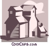 Vector Clip Art image  of a farm buildings