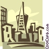 Vector Clip Art graphic  of a San Francisco skyscrapers