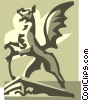 Vector Clip Art picture  of a statue of a dragon