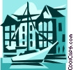 sailboat with buildings Vector Clip Art picture