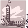 Vector Clip Art graphic  of a building in the United Kingdom
