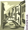 Vector Clip Art image  of a bridge in Italy