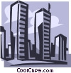 Vector Clip Art graphic  of a world trade center