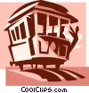 Vector Clipart picture  of a Person leaning off streetcar