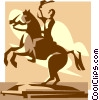 Vector Clipart graphic  of a statue of a man on a horse