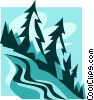 Vector Clip Art graphic  of a ski hills