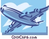 Vector Clip Art picture  of a Commercial jet