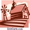 barn and windmill beside a field Vector Clip Art image