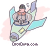pilot flying a plane Vector Clipart image