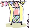Vector Clip Art picture  of a Woman hanging clothes on line