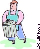 Vector Clipart graphic  of a Man taking out the garbage