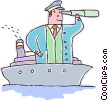 captain looking through a telescope on a ship Vector Clipart picture