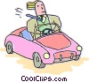 Vector Clip Art graphic  of a man driving a sports car