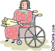 Vector Clip Art graphic  of a Woman in a wheelchair with