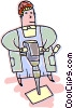 Construction worker with a jack hammer Vector Clip Art graphic