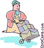 Vector Clipart picture  of a Courier delivering packages