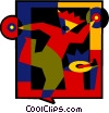 Vector Clipart graphic  of a person playing records and