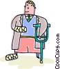 Man with a broken arm and leg Vector Clipart illustration