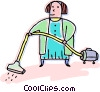 Woman vacuuming her carpets Vector Clipart illustration