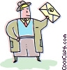 Vector Clip Art graphic  of a Businessman sending an email