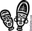 Vector Clip Art graphic  of an African masks