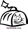 Vector Clipart image  of a cat in a carrying case