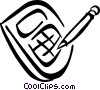 Vector Clipart graphic  of a calculator and pencil