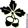 Vector Clip Art graphic  of an acorn and leaves