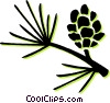 Vector Clipart image  of a pine leaves and pinecone