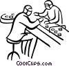 Vector Clipart graphic  of a workers on the assembly line
