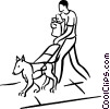 person walking with seeing eye dog Vector Clipart image