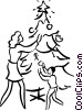 Vector Clipart graphic  of a Christmas scene