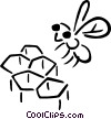 Vector Clipart graphic  of a Bees