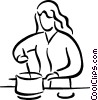 Vector Clipart graphic  of a meal preparation