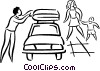 Vector Clipart graphic  of a Family Cars