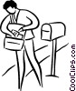 postal worker delivering the mail Vector Clip Art picture