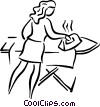 Vector Clip Art picture  of a woman ironing