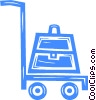 Vector Clip Art image  of a luggage cart
