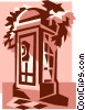 Vector Clip Art image  of a telephone booth