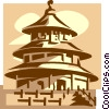 Vector Clip Art graphic  of a Temple of Heaven