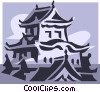 Asian buildings Vector Clip Art image