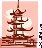 Vector Clip Art image  of an Asian temple