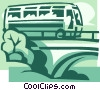 Vector Clip Art image  of a touring bus