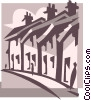 Vector Clip Art graphic  of a town houses