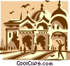 European building Vector Clipart illustration