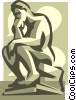 Vector Clip Art graphic  of a thinker