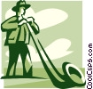 Vector Clip Art graphic  of an Alpenhorn player