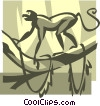 Vector Clip Art graphic  of a monkey in a tree