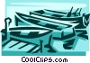 Small fishing boats Vector Clipart illustration