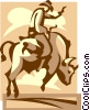 cowboy riding a bull Vector Clip Art graphic